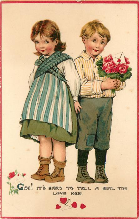 Gee It's Hard To Tell A Girl You Love Her - Love and Youth Valentine - Tuck postcard
