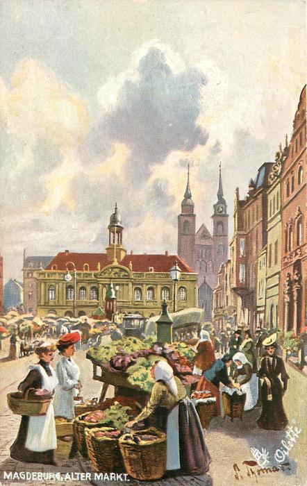 Magdeburg Alter Markt -  Magdeburg Kollektion Deutscher Stadte set - no 645 - artist Paul Thomas - German Tuck postcard