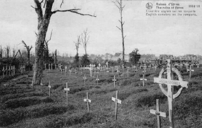 Stephen Orme Gamble - Ramparts Cemetary (Large Cross in Foreground)